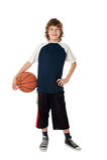 Boy with ball. On white Stock Photos