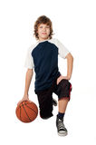 Boy with ball. On white Stock Photography