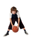 Boy with ball. On white Royalty Free Stock Photos