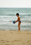BOY BALL BEACH4 Royalty Free Stock Photo