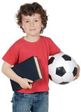 Boy with ball and book Stock Photography