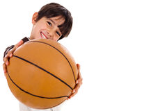 Boy with the ball, focus on ball Stock Photo