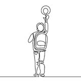 Boy with ball going back to school with bag. Continuous line drawing. Vector illustration on white background Stock Images