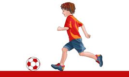Boy with ball. Illustration of a little boy runs wyth ball Stock Photography