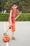 Boy with ball waiting game start Stock Photos