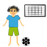 Boy with ball on white background Stock Photo