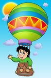 Boy in balloon on sky. Color illustration Stock Images