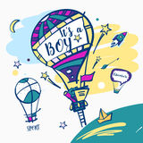 It is a boy. Balloon with text sport and adventure Stock Image