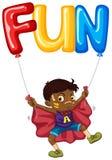 Boy and balloon for word fun. Illustration stock illustration