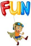 Boy with balloon for word fun. Illustration vector illustration