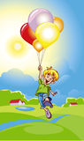 Boy with balloons. Illustration Royalty Free Stock Images