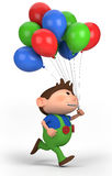 Boy with balloons. Brown-haired boy with balloons; high quality 3d illustration Stock Photos