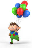 Boy with balloons. Brown-haired boy with balloons; high quality 3d illustration Royalty Free Stock Photo