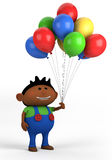 Boy with balloons. Cute afro-american boy with balloons; high quality 3d illustration Royalty Free Stock Photos