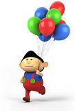 Boy with balloons. Cute asian boy with balloons; high quality 3d illustration Stock Photo
