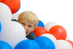 Boy and balloons 2. The shouting boy with balloons on white background Royalty Free Stock Photo