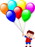 Boy and Balloons. Boy with balloons isolated on white background Royalty Free Stock Photo