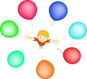 Boy with balloons Stock Images