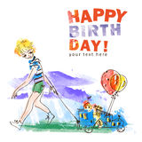 Boy with balloons. Hand drawn vector illustration. Royalty Free Stock Photography