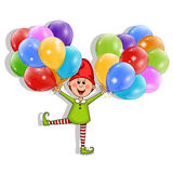 Boy with balloons. Vector object on white background Royalty Free Stock Photo