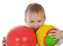 Boy with a balls Stock Photos