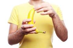 Boy with banana Royalty Free Stock Photography