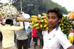 The boy with banana Royalty Free Stock Photo