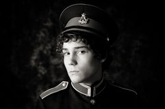 Boy in band uniform. Portrait of a teenager wearing a marching band uniform.  Black and white Royalty Free Stock Photo