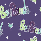 Boy Bands Seamless Pattern. A seamless pattern with the words boy bands and hearts on it Royalty Free Illustration