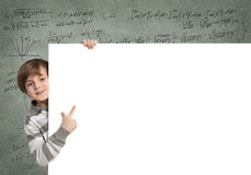Boy with banner Stock Photography