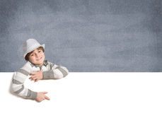 Boy with banner Stock Images