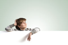 Boy with banner Stock Image