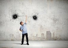 Boy with barbell Royalty Free Stock Images