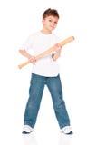 Boy with baseball bat. Anger boy with wooden baseball bat, isolated on white background Stock Photos