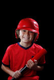 Boy with baseball bat on black background Royalty Free Stock Photos
