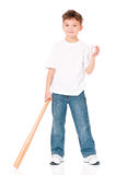 Boy with baseball bat. Happy boy with wooden baseball bat and ball, isolated on white background Royalty Free Stock Images