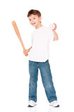 Boy with baseball bat. Happy boy with wooden baseball bat and ball, isolated on white background Royalty Free Stock Image