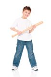 Boy with baseball bat. Happy boy with wooden baseball bat isolated on white background Stock Images