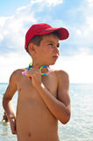 A boy in a baseball cap Royalty Free Stock Images