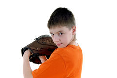 Boy with a baseball glove Stock Photos