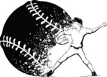 Boy Baseball Pitcher with Splatter Baseball Royalty Free Stock Images