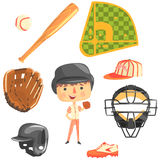 Boy Baseball Player,Kids Future Dream Professional Occupation Illustration With Related To Profession Objects. Smiling Child Carton Character With Career Stock Photography