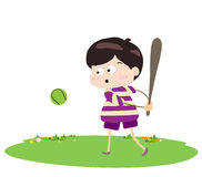Boy baseball player. Little Children happy playing illuttration royalty free illustration