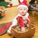 Boy with basket Stock Image