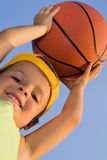 Boy with basket ball Stock Photo