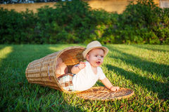 Boy in a basket Royalty Free Stock Image