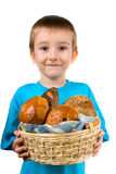 Boy with a  basket  of  bread Stock Photo