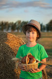 Boy with basket of buns Stock Photography