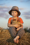Boy with basket of buns Royalty Free Stock Images