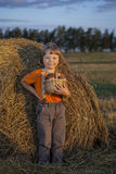 Boy with basket of buns Royalty Free Stock Photo